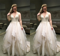 Wholesale beach wedding dress ivory chapel for sale - Group buy Charming Tiered Wedding Dresses V Neck Beads Sweep Train Crystals Elegant Garden Beach Bridal Gown Sexy Chapel Church Vestidoe De Noiva