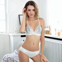 nylons de sutiã venda por atacado-Mulheres Sexy Underwear Bra Bordados Lingerie Fina Nylon Lace Bra Transparente Ultra Set Temptation Push Up Bra Set