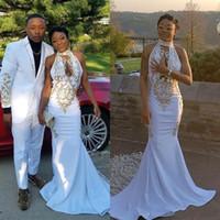 ingrosso vestiti di fidanzamento bianco nero-Le ragazze nere africane Abendkleider Vestidos de Fiesta largos semplici abiti da sera in pizzo bianco abiti da ballo di fidanzamento abiti da cocktail party