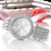 elmas tasarım bilezikleri toptan satış-Shengke Lüks Kadınlar İzle Markalar Kristal Şerit Seksi Elmas Tasarım Bilezik Saatler Bayanlar Kristal Saatler Relogio Feminino Y18110310