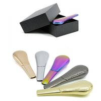 Wholesale spoons gift box resale online - 20pcs Metal Spoon Smoking Pipes with Cover Creative Zinc Alloy Herb Tobacco Pipe Length mm Cigarette Smoking Pipes Gift Box