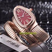 fall rote farbe groihandel-8 Farbe Günstige Luxry New Serpenti Tubogas 101911 SP35C6SS.2T Red Dial Roségold Schweizer Quarz Damenuhren Armband-Uhr-Qualität