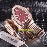 kasa kırmızı renk toptan satış-8 Renk Ucuz Luxry Yeni Serpenti Tubogas 101.911 SP35C6SS.2T Kırmızı Dial Rose Gold Vaka İsviçre Quartz Bayan Saatleri Bileklik Saat Yüksek Kalite