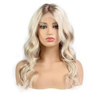 sarışın dalga insan saç peruk toptan satış-Ombre Platin Sarışın Brezilyalı Peruk Vücut Dalga Dantel Ön İnsan Saç Peruk Bebek Saç Remy Saç Ile Ön Koparıp