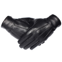 Wholesale real sheepskin gloves resale online - Gours Winter Gloves Men Genuine Leather Gloves Touch Screen Real Sheepskin Black Warm Driving Gloves Mittens New Arrival Gsm050 T190618