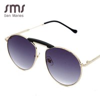 Wholesale vintage classic eyewear resale online - Vintage Pilot Sunglasses Men Women New Brand Round Metal Classic Male Mirror Sun Glasses Double Beam Female Eyewear UV400