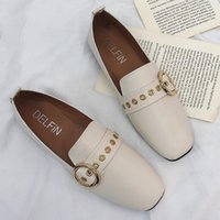 Wholesale loafers for womens resale online - Womens PU Leather Shoes Flats Slip On Loafers Moccasins for Female Footwear Slides Leather Casual Round Toe Rivet Flats