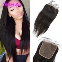 Wholesale human hair weave lace parting resale online - Brazilian Human Hair Weaves Closure X6 Lace Closure Silky Straight Closure Middle Three Free Part inch Yirubeauty