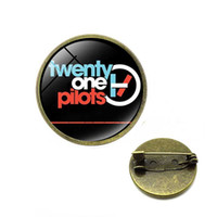 Wholesale music brooches resale online - Twenty One Pilots Brooches Punk Rock Music Band Logo Glass Photo Cabochon Backpack Lapel Pin Button Badges Christmas Jewelry
