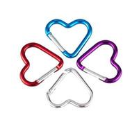 açık alüminyum tokalar toptan satış-Kalp Şeklinde Karabina Alüminyum Alaşım Açık Kanca Seyahat için Renkli Anahtar Yüzükler Yenilik Öğeleri CCA11221 1600 adet