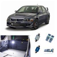 Car & Truck LED Light Bulbs 6PCS Blue Interior LED Kit For 2007-2015 Mitsubishi Lancer White License Plate