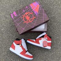 zapatos originales de diseñador al por mayor-Shadow Chicago Crystal High Zapatillas de baloncesto 1s Spider Man New Designer Hombre Mujer Entrenador Zapatillas deportivas con caja original