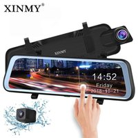 Wholesale XINMY quot Full Touch Screen Stream Media Car DVR Rear View Mirror Dual Lens Reverse Backup Camera P Full HD Dash Camcorder