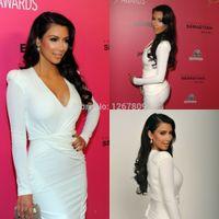 Wholesale red carpet dresses kim kardashian resale online - Celebrity Dresses Kim Kardashian Dress Hot Sale Sexy V Neck Long Sleeve short White satin Red Carpet Dresses
