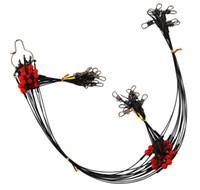 líneas de línea al por mayor-Línea de pesca de acero inoxidable recubierto de nylon de 12 piezas 60 cm 2 brazo Cable negro Líderes Trazar alambre de acero de pesca con broche giratorio