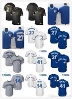 jay azul venda por atacado-Juventude de homens mulheres Toronto 27 Vladimir Guerrero Jr. 14 Justin Smoak 20 Josh Donaldson 41 Aaron Sanchez personalizado Baseball Jerseys Blue Jays