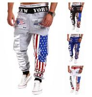 trajes de bandera al por mayor-Hombres Hip Hop Bandera de los Estados Unidos de América Jogger Sudor Pantalones de algodón Pantalones pitillo Chándal Parte de abajo de entrenamiento Pantalones para correr