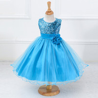 Wholesale yellow baby shirts resale online - Hot Sale Baby Sequins Girl Flower Dresses Party Princess Dress Children kids clothes Girl Pageant Gowns