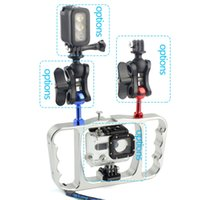 Wholesale scuba diving lights for sale - Group buy Dual Handle Scuba Diving Bracket Flash Light Mounting Frame Kit for Gopro Hero SJCAM Sony Camera Camcorder Smartphone