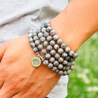 joyas de piedra gris al por mayor-Energy 108 Light Grey Map Stone Beaded Lotus Charm Necklace Hombres Mujeres Yoga Bracelet Jewelry Natural Stone Bead Bracelet Men