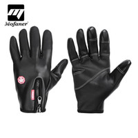 Wholesale waterproof gloves for motorcycle resale online - Mofaner PU Leather Motorcycle Touch Screen Gloves Waterproof Fashion Motorbike Full Finger Gloves For Riding Outdoors Sport