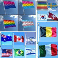 fliegen streifen großhandel-29 Designs Nationalflagge Für Welt Streifen Regenbogen Double sex Homosexuell Flying Flag Banner Dekoration 3 * 5ft 90 * 150 cm FA2663