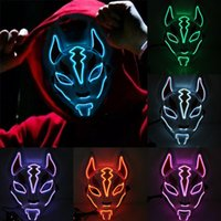 Wholesale sexy full faced masks for sale - Group buy Halloween Cold Light Mask Prom Party Mask Face Light Neon Up Cosplay Sexy Carnival Party Led