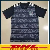 tayland ücretsiz gönderim formaları toptan satış-S-XXXXL DHL Ücretsiz kargo 2019 Meksika Futbol Formaları 2019 2020 Tay kaliteli Meksika uzakta siyah Futbol Gömlek Boyutu karışık toplu olabilir