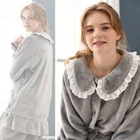franela de maternidad al por mayor-Conjunto de maternidad pijamas para mujeres embarazadas de moda franela cálido invierno lactancia lactancia camisón ropa de dormir de maternidad 2 unids