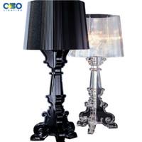 table lumineuse acrylique achat en gros de-Lampe de table moderne noir / transparent abat-jour de chevet acrylique décoration table lumière pour salon pour Besroom 110-240V livraison gratuite