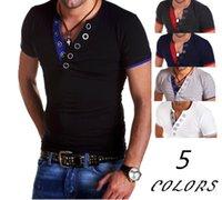 paçavra gömleği toptan satış-Erkek Düz T-shirt Uzun Kollu V Boyun Rahat Slimt gömlek Düğme Placket Gömlek Nefes Pamuk Streetwear t shirt
