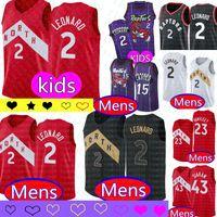 camisetas de baloncesto juvenil al por mayor-NCAA Kawhi Leonard # 2 niños para hombre de la juventud Jersey Vince Carter 15 Universidad Kyle Lowry 7 Pascal 43 Siakam jerseys del baloncesto