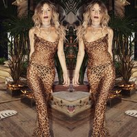 ingrosso vestito coreano del leopardo-Sexy abito senza maniche stampa leopardato donne abito lungo estate backless chiffon abiti da festa coreano maxi abito spiaggia vestidos 2018 Y190425