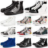 Wholesale designer spiked shoes resale online - designer shoes men women Chaussures Studded Spike Sneakers Triple Black White Red Leather Suede flat bottoms casual shoe vintage