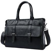 Wholesale filing folders bags resale online - 2019 Black Men s Briefcase Genuine Leather Bag Men Business Laptop Briefcase Bag Vintage Office File Folder Briefcases Tote Bags