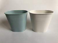 ingrosso mini vasi blu-D12XH11CM Spedizione gratuita bianco piccolo vaso ovale mini vaso da sposa vaso per tavolo centrepieces cielo blu carino fiore vasca