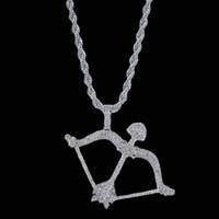 arco de plata collar de flecha al por mayor-Colgante de arco y flecha con cadena de cuerda, color de plata, oro, circonio cúbico, hip hop, hombres, joyería