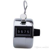 contador manual de números al por mayor-Inoxidable Metal Mini Deporte Vuelta Golf Manual de mano Número de 4 dígitos Mano Tally Counter Clicker Silver Free DHL 1014