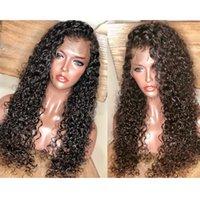 de boa qualidade lace front wigs venda por atacado-Novo estilo de boa qualidade Cabelo Humano Brasileiro Peruca Cheia Do Laço com o cabelo do bebê para as mulheres negras kinky curly Lace Front Wigs cor natural