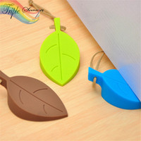 Wholesale collision accessories resale online - Sale pieces Leaves Pattern Bathroom Accessories Sets Door Rear Wall Anti Collision Supplies Mute Anti Touch Door AB0032S
