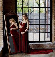 vestidos de maternidade borgonha vestidos venda por atacado-2020 Nova Borgonha maternidade formais grávidas vestidos de noite espartilho spaghetti decote chaple trem de noite de festa vestidos 53