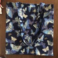 papillons bleu marine achat en gros de-YILE Bleu Marine En Coton Doré Eco Shopping Fourre-Tout Sac À Bandoulière Papillon Kimono Style 26d # 258391