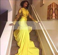 robes de soirée sud-africaines achat en gros de-2018 nouvelle jolie dentelle africaine africaine Appliqued robe de soirée sud-africaine sirène manches longues banquet robe de soirée sur mesure plus la taille
