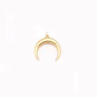 encantos de cuerno al por mayor-100% de acero inoxidable OX Horn colgante collar para las mujeres de plata / oro luna creciente media luna colgante de lunares al por mayor