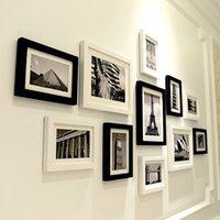 ingrosso scenario bianco nero-11 pc Nero Bianco Scenery Wall Hanging Photo Frames Set Picture Frame Per Corridoio Camera da letto Marca Living Room decorazione della casa