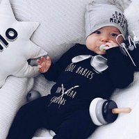 Wholesale cool baby boy clothing resale online - Designer Baby Clothes COOL BABIES DON T WEAR COLOVRS Printed Baby Boy Rompers Letter Print Girls Jumpsuits Long Sleeve Cothing WZW YW2196