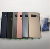 carcasa de batería trasera galaxy note al por mayor-Cristal trasero para Samsung Galaxy Note 8 N950 N950F N9500 Batería Tapa trasera Reemplazo de la carcasa de la puerta + Cristal de la cámara + Reparación
