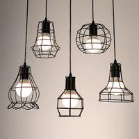 endüstriyel lambalar toptan satış-Retro Metal Abajur Tavan Gölge Lamba DIY Abajur Endüstriyel Lamba Su Şekli Kafes Klasik Siyah Nordic Ampul Kapak