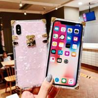 étui iphone rose clair achat en gros de-Coque en TPU transparente Fashion pour iPhone X XS MAX XR Housse de luxe en métal Conch rose avec coque arrière pour iPhone 6 6s 7 8 Plus