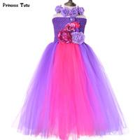 vestido de niña de flores de hadas de la boda al por mayor-Vestido de hada tutu con guirnalda Belleza Vestido de flores de niña púrpura Tulle Niños Vestidos de princesa para niñas Cumpleaños Vestido de fiesta de boda